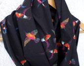 Birds print infinity scarf, Flying birds scarf, Hummingbird scarf, Infinity scarf, Loop scarf, Circle scarf, Jersey scarf