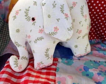 Elephant plush doll - Handmade, recycled fabric