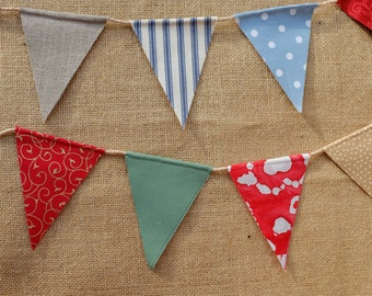 Fabric bunting - miniature vintage style country patterned garland on natural twine