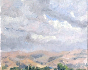 Clouds. Quarry Lakes (oil painting)