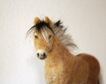 Needle felting horse, Fjord pony one of a kind collectible sculpture by Minzoo model horse