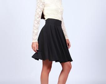 Black Skirt, Chiffon Black Skirt, Short Black Skirt, High Waisted Black Skirt, Handmade Skirt