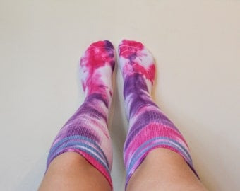 TyreDyes Knee High Tie Dye Socks Pink/Purple