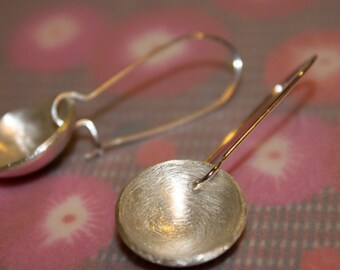 Big Moon earrings. Handmade, silver cup.