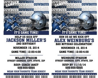Printable Birthday Party Invitation Card Dallas Cowboys Birthday Ticket Invitation Football Weddings Baby Showers Bar Mitzvahs