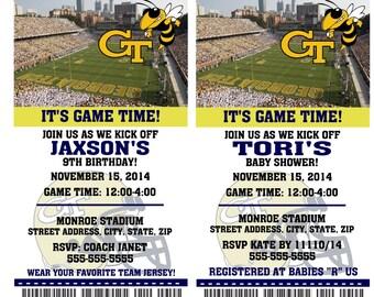 Printable Georgia Tech College Football Birthday Party Invitation NCAA Ticket Invitation Baby Shower Invitations