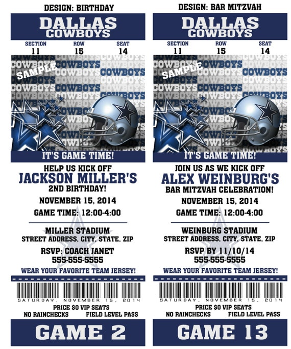 Printable Birthday Party Invitation Card Dallas Cowboys