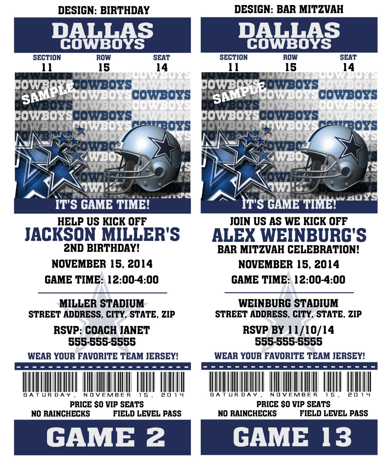 Printable Birthday Party Invitation Card Dallas Cowboys – Dallas Cowboys Party Invitations