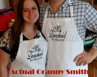 "Set of 2 ""matching"" Embroidered monogram  Family Name initials Apron 24""L x 28""W professional 3 pocket full bib. Customize and Personalize."