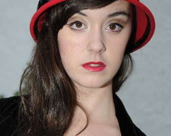 Poppy Red Wool Felt Cloche Hat with Velvet Ribbon Bow Trim in Charcoal (dark grey), handmade and cosy