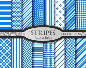 Azure Blue Digital Paper: Azure Stripes, Azure Paper, Printable Azure Geometric, Blue Azure Scrapbook Paper, Azure Background Digital Pages