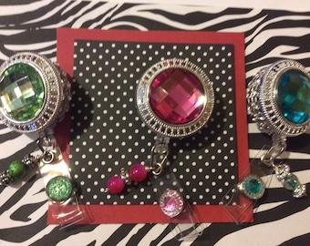 Purple, pink retractable badge holder