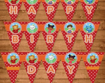 Daniel Tiger Printable Banner Red - Daniel Tiger Birthday Party Banner -- Daniel Tiger Party Favors