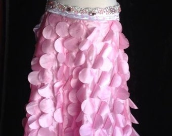 Belly Dance Satin Polka Dot Petal Rhinestone Professional Costume