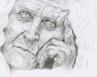 Portrait, Charcoal Drawing, Art, Realism, Classic Art, Original Art, Portrait Drawing., 3D Art, Art Print.