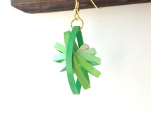 Paper Earrings, Green Quilled Earrings, Quirky Earrings, Dangle Earrings, Niobium Earrings, Paper Quilling Jewelry, First Anniversary Gift