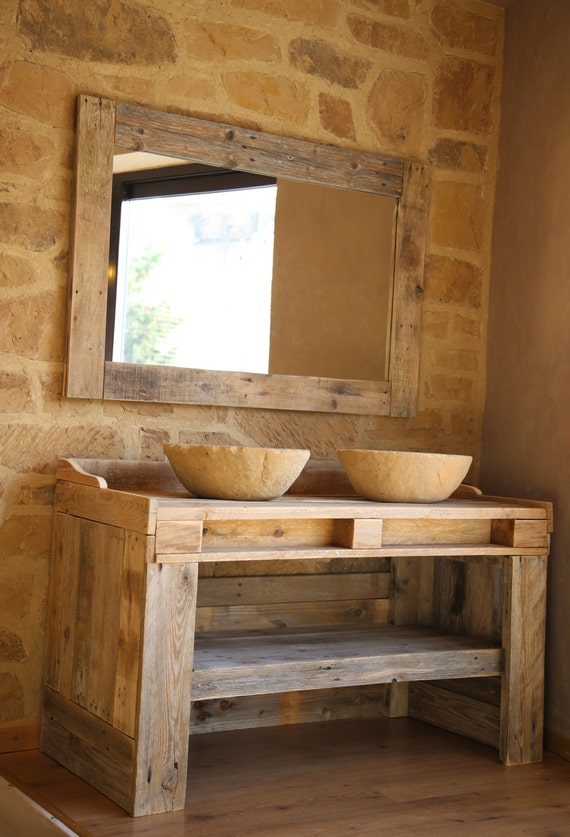 Mueble de ba o hecho con madera de palet reciclada con lavabos - Mueble de bano madera ...