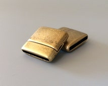 Antique Bronze Smooth, Rounded Magnetic Clasp, Clasp for 20mm flat leather, European made clasp