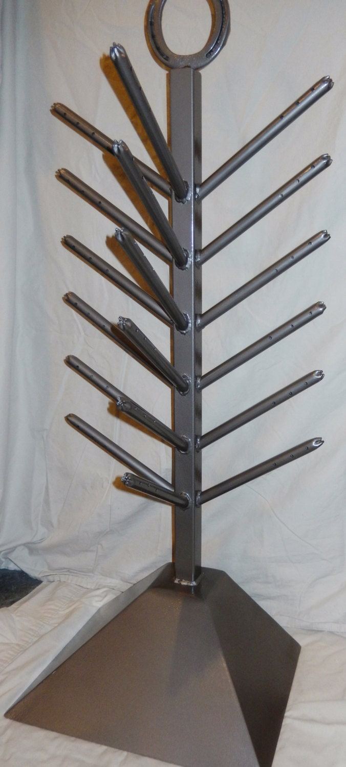 Handcrafted Wrought Iron Mitten Glove Boot Hat Dryer Stand