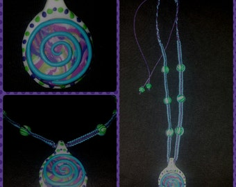 Magic spiral ~ luminous amulet made of polymer clay/Fimo