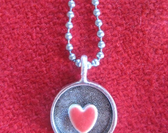 Sweet Heart / Red ceramic heart pendant / Small