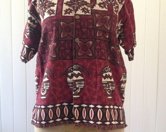 Vtg Tiki Barkcloth Cotton shirt