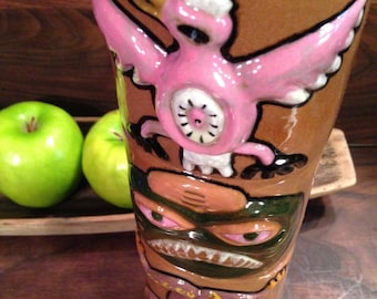 Vintage Handmade Stacking Totempole Mug Set