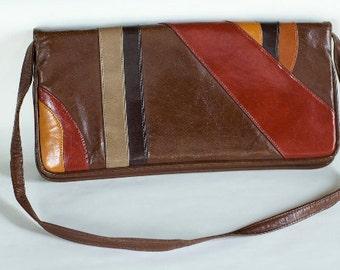 Vintage 1970s Leather Patchwork Purse
