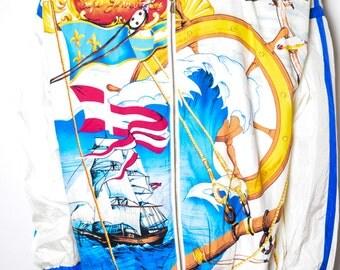 80s White/Gold/Blue Ship in the Sea Nylon Jacket