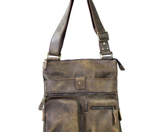 BROWN Leather Tablet Bag, Leather Shoulder Bag, Leather Satchel, Cross Body Bag, Euro Bag, Leather Bag, Everyday Bag