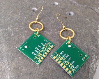 Gold Plated Circuit Board Earrings, Green and Gold, Recycled Upcycled Reclaimed Computer Parts, Geekery, Gifts for Geeks & Nerds