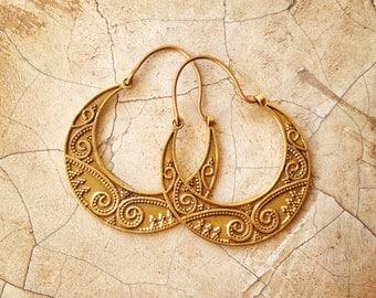 REDUCED Chandra - Brass Moon Boho Earrings. Hoop Earrings / Gold Earrings / Tribal Earrings / Gypsy Earrings / Tribal Belly Dance / lalaboho