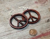 Laser cut wood earrings, peace, wooden earrings, wood jewelry