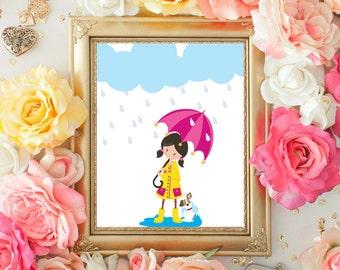 Printable children's art, Nursery Print, Girl walking in the Rain printable, puppy art, nursery baby print, 8x10 INSTANT DOWNLOAD