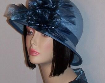 Women's Straw Cloche Hat Medium Blue