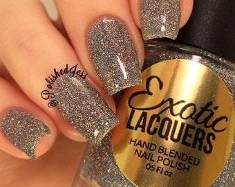 DIAMOND DUST is a MEGA Holographic Glitter Nail Polish Silver, Gray, Multi Color