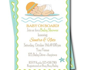 Surf Baby Shower Invitation- Baby on Board Surfer Printable Baby Shower Invite- Boy Babyshower - Digital File You Print- JPG PDF- Aqua Blue