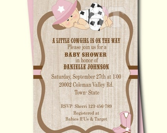 cowgirl baby shower invitation  etsy, Baby shower invitations