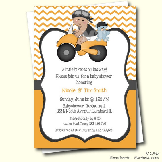 to motorcycle baby shower invitation african american biker baby