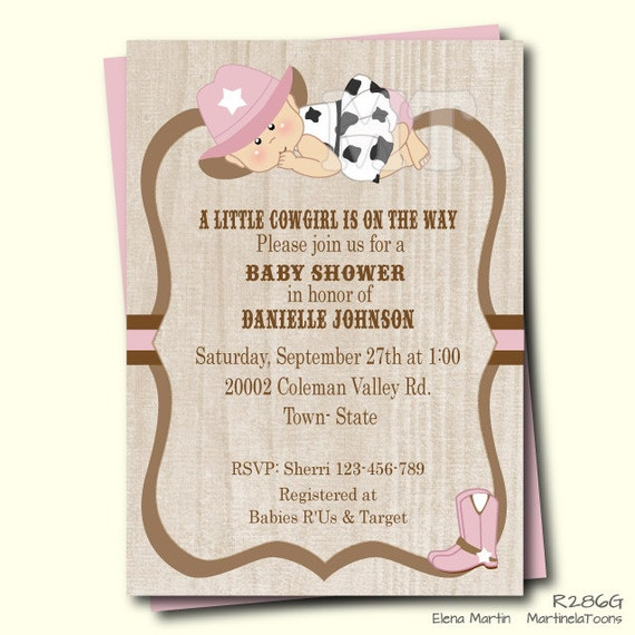 pink cowgirl baby shower invitation- baby girl shower invite- cow, Baby shower invitations