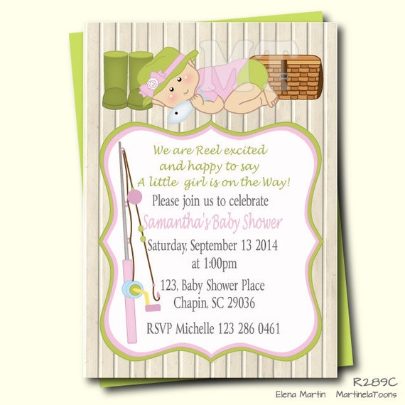 fishing girl baby shower invitation wood invitation fishing baby