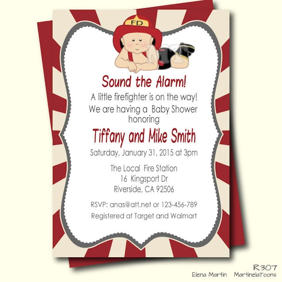 Firefighter Baby Shower invitation- Fireman Baby Shower- Unique Baby ...: https://www.etsy.com/listing/217071154/firefighter-baby-shower...