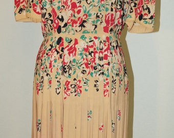 1940's tan and floral pleated dress