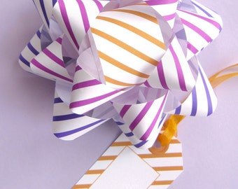 Striped Bows & Tags in Violet, Plum and Pumpkin - DIY, Instant Download, Gift Wrap, Digital Print, Cut Out Craft, Craft Kit