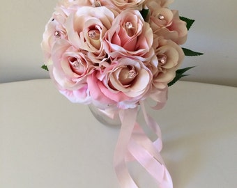 Pink roses silk wedding bouquet