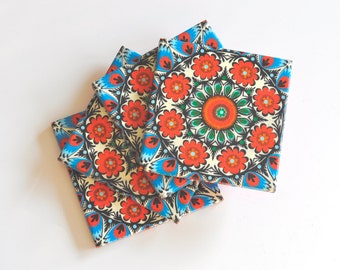Red With Blue Pattern Ceramic Tile Coasters Set of 4