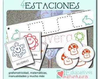 Imprimible educativo de las 4 Estaciones -español-