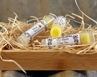 Organic Beeswax Lip Balm with Jojoba Oil - Natural, Strawberry, Peppermint or Vanilla. Made in Australia.