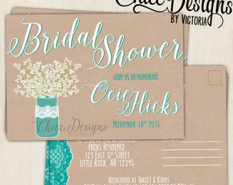Shabby Chic Bridal Shower - Postcard - Bridal Shower Invite - Invitation - ChiccDesigns - Shower Postcard - Digital/Printable File