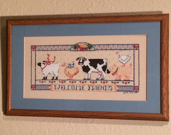 Farmhouse Art Welcome Friends Needlepoint Framed Picture